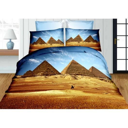 3D posteľné obliečky modro hnedé s pyramídami