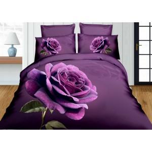 Fialové 3D obliečky na posteľ s fialovou ružou
