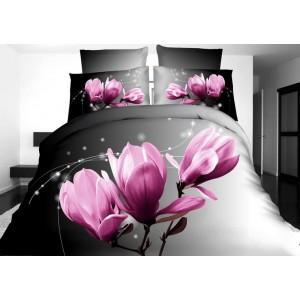 Posteľná obliečka sivá s motívom ružového kvetu