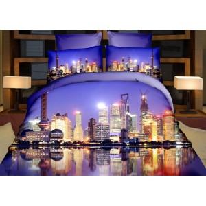 Modré 3D obliečky na posteľ s potlačou veľkomesta