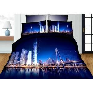 Modré 3D obliečky na postele veľkomesto