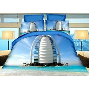 Obliečky na postele modrej farby s megastavbami