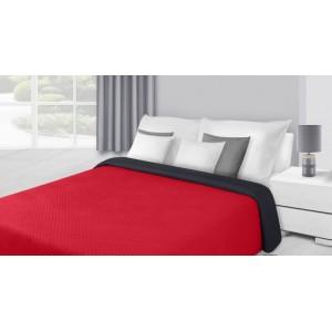 Obojstranný červeno čierny prehoz na posteľ a kreslá