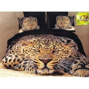 Čierna 3D posteľná obliečka s potlačou ležiaceho leoparda