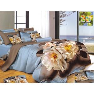 Modré obliečky na postele s 3D potlačou kvetov