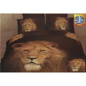 Hnedé obliečky na posteľ s 3D levom