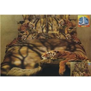 Ležiaci tiger 3D posteľná obliečka hnedo zelenej farby