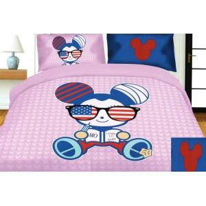 Ružová posteľná obliečka s detským motívom americkej myšky