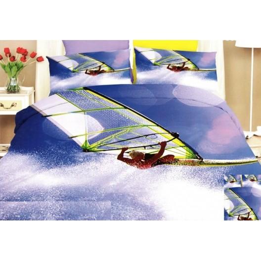 Modro fialové posteľné obliečky s motívom surfera
