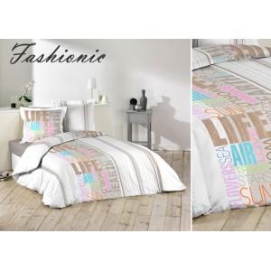 Sivé posteľné obliečky s farebnými nápismi