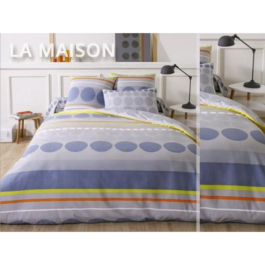 Modré posteľné obliečky s kruhmi a farebnými pásmi
