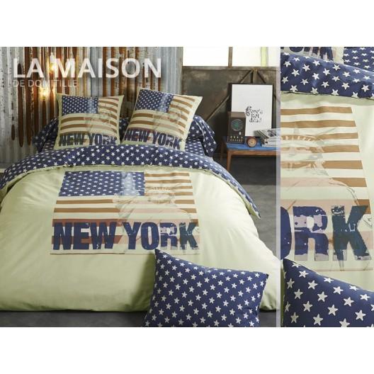 Luxusné posteľné obliečky žlto modrej farby New York