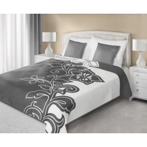 Sivo biely prehoz na posteľ obojstranný s motívom