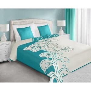 Prehoz na posteľ tyrkysovo krémový s motívom