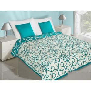 Abstraktný vzor obojstranné prehozy na posteľ tyrkysovo krémové