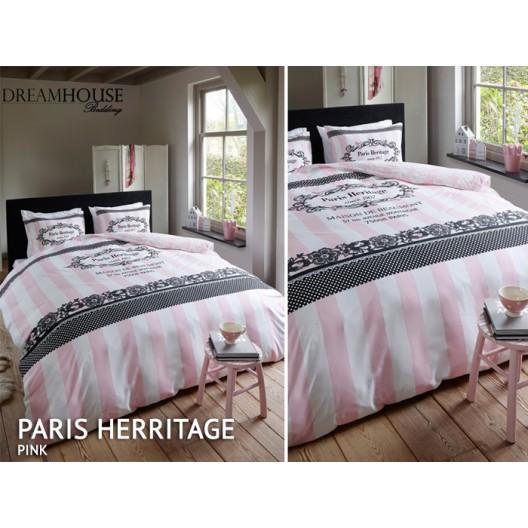 Luxusné posteľné obliečky ružovo bielej farby s kvetinovým vzorom