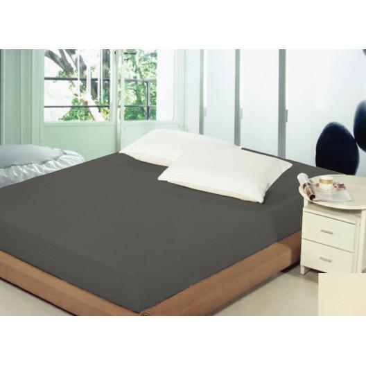 Bavlnené prestieradlá na postele tmavo sivej farby