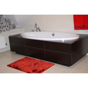 Moderná kúpeľňová predložka červenej farby