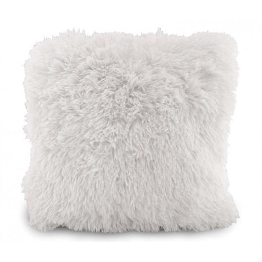 Chlpatá luxusná obliečka na vankúš bielej farby