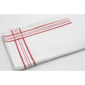 Bavlnené kuchynské utierky bielej farby s červeným vzorom