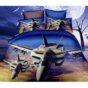 Tmavo modré posteľné obliečky so stíhačkami