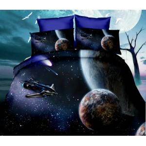 Posteľné návliečky tmavomodrej farby s vesmírnym motívom