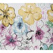 Bielo fialový obojstranný prehoz na posteľ s kvetmi cez celý prehoz