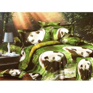 Zelené posteľné obliečky s pandami