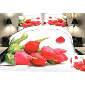 Posteľné návliečky bielej farby s tulipánmi