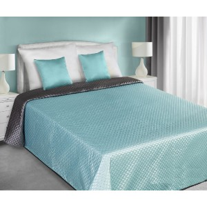 Sivo tyrkysové saténové obojstranné prehozy na posteľ