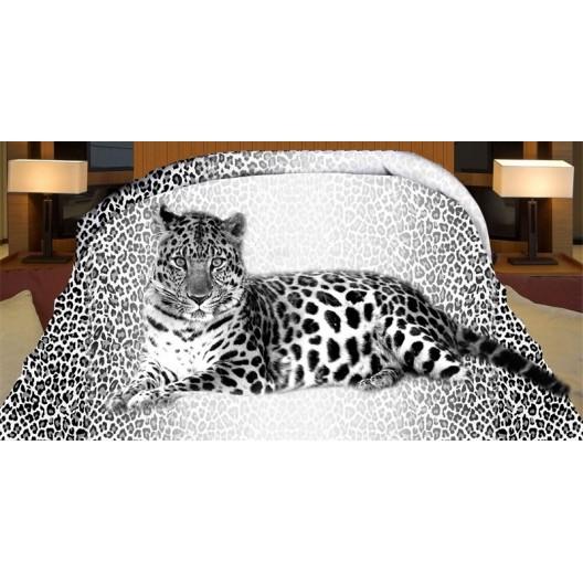 Leopard obojstranný prehoz na posteľ čierno sivej farby