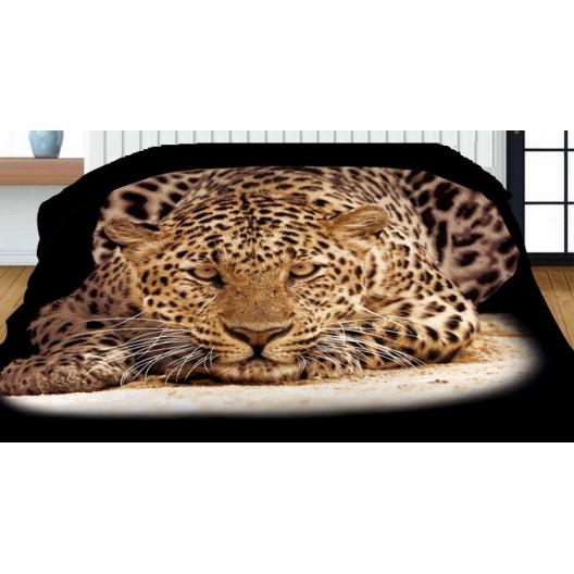 Čierne obojstranné prehozy s potlačou leoparda