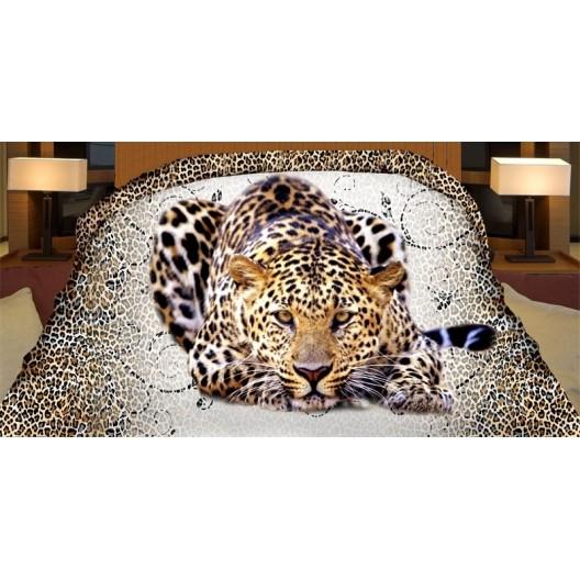 Biely prehoz na posteľ obojstranný s realistickou potlačou leoparda