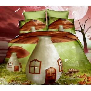 Hubové domčeky posteľné obliečky v zelenej farbe
