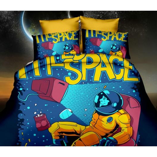 Tmavo modré obliečky na posteľ z mikrovlákna s kozmonautom vo vesmíre