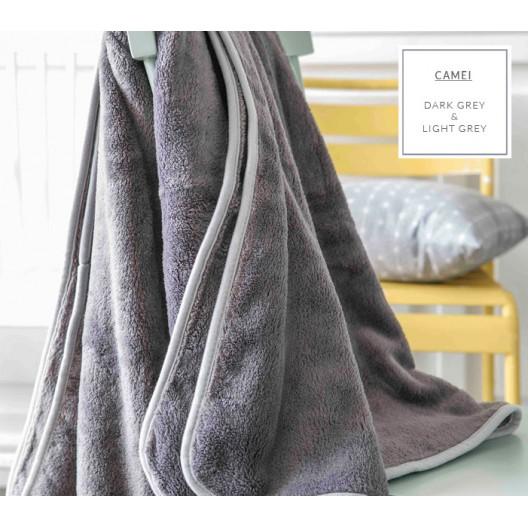 Luxusná francúzska deka v sivej farbe so svetlo sivým lemovaním