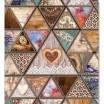 Dekoračná prikrývka hnedej farby v rustikálnom štýle so srdcami