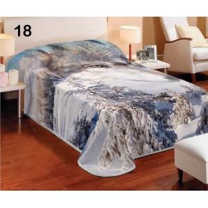Biele prehozy na postele s motívom husky