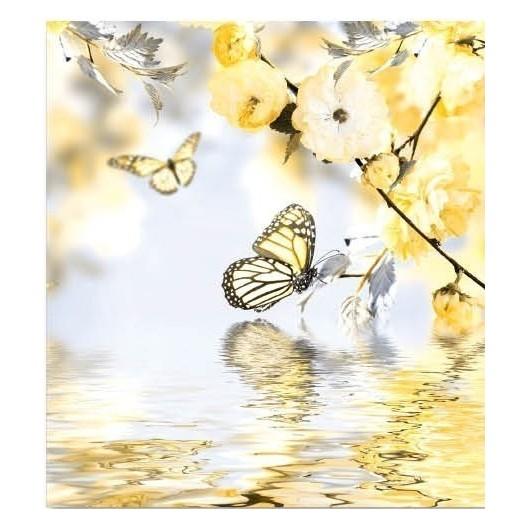 Bielo žltá deka na posteľ s motívom motýľov pri vode