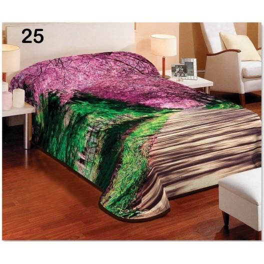 Zeleno hnedé deky na jednoposteľ s fialovými lupeňmi