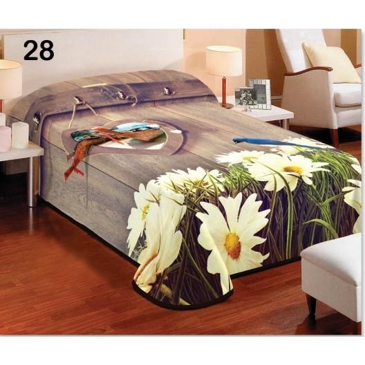Hnedá deka do spálne na jednolôžko s kvetmi