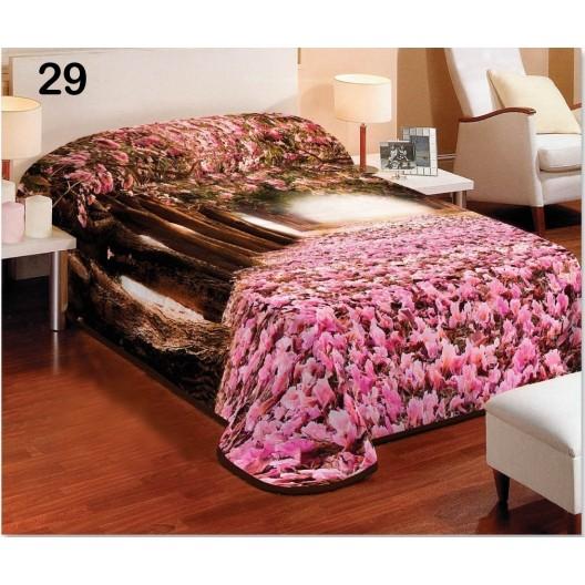 Poťahy na postele ružovej farby s motívom lesa