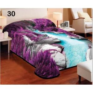 Deky fialovej farby na posteľ pre deti s motívom priehľadnej modrej rieky