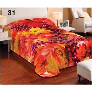 Luxusná deka oranžovej farby s jesenným lístím