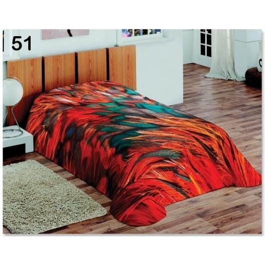 Deky červenej farby na posteľ pre deti s motívom pierok