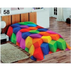 Farebná teplá prikrývka na posteľ pre deti s farebnými kockami