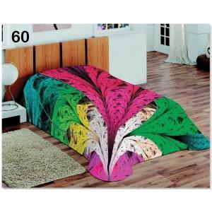 Dekoračná farebná deka a prikrývka s farebnými pierkami