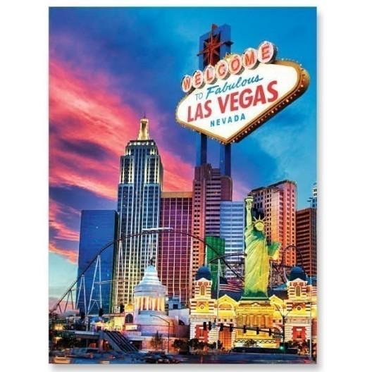 Luxusná deka v modrej farbe s motívom Las Vegas