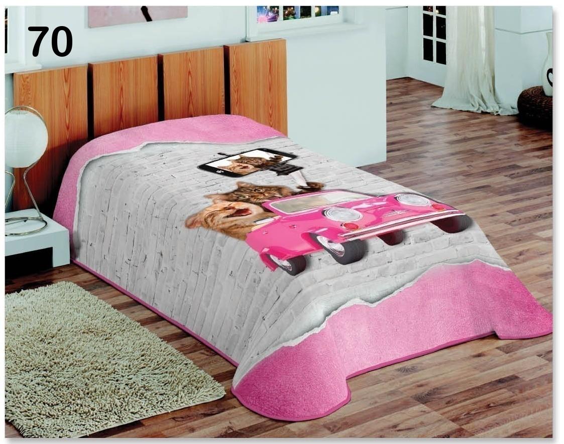 DomTextilu Dekoračná prikrývka ružovej farby s motívom mačiek robiacích si selfie 5657-15097 155 x 220 cm Príroda a zvieratá