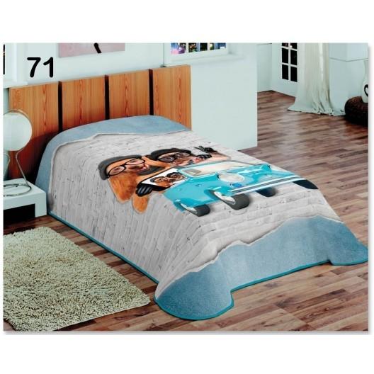 Poťahy na postele v modrej farbe s mačkou a psíkom na aute